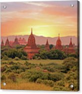 Ancient Pagodas In The Countryside From Bagan In Myanmar At Suns Acrylic Print
