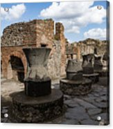 Ancient Pompeii - Bakery Of Modestus Millstones And Bread Oven Acrylic Print