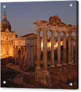 Ancient Romes Skyline At Sunset Acrylic Print by Kenneth Garrett