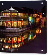 Ancient Style Restaurant On Water By Stone Bridge Acrylic Print