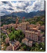 Ancient Village Of Sarnano Italy, Marche, Macerata - Aerial View Acrylic Print