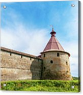 Ancient Wall And Tower Of The Fortress Oreshek Acrylic Print