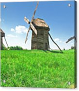 Ancient Windmills In Field Acrylic Print