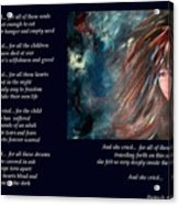 And She Cried - Poetry In Art Acrylic Print