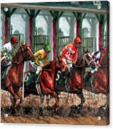 And They're Off Acrylic Print by Thomas Allen Pauly