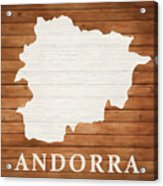 Andorra Rustic Map On Wood Acrylic Print