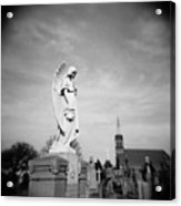 Angel And Church In Calvary Cemetery New York City Acrylic Print