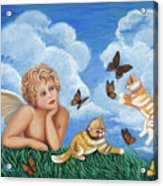 Angel And Kittens Acrylic Print