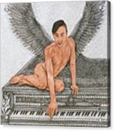 Angel And The Piano Drawing Hnad-drawn Acrylic Print
