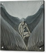 Angel At Twilight - Charcoal - 8 X 12 Acrylic Print