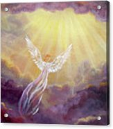 Angel In Mauve Clouds Acrylic Print