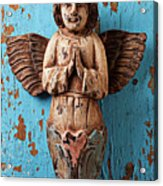 Angel On Blue Wooden Wall Acrylic Print by Garry Gay