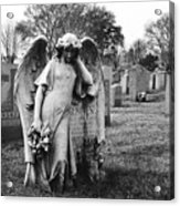 Angel On The Ground At Calvary Cemetery In Nyc New York Acrylic Print