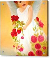 Angel Surrounded By Red Roses Acrylic Print