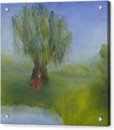 Angel Under Weeping Willow Acrylic Print