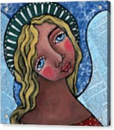 Angel With Green Halo Acrylic Print by Julie-ann Bowden