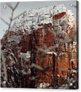 Angels Landing Under Snow Acrylic Print