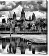 Angkor Wat Black Oil Paint  Acrylic Print