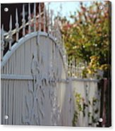 Angled Closeup Of White Washed Iron Gate To Garden Acrylic Print