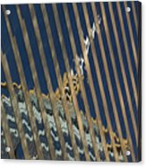 Angled Reflection Of Central Plaza In Skyscraper  Acrylic Print