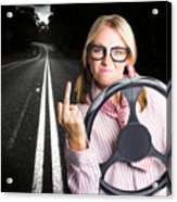 Angry Business Woman Expressing Road Rage Acrylic Print