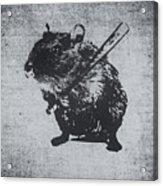 Angry Street Art Mouse  Hamster Baseball Edit  Acrylic Print