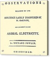 Animal Electricity, Title Page Acrylic Print