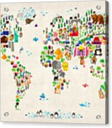 Animal Map Of The World For Children And Kids Acrylic Print