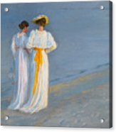 Anna Ancher And Marie Kroyer On The Beach At Skagen Acrylic Print