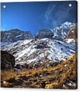Annapurna Trail With Snow Mountain Background In Nepal Acrylic Print