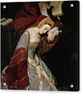 Anne Boleyn In The Tower Acrylic Print by Edouard Cibot