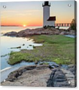 Annisquam Lighthouse Sunset Vertical Acrylic Print