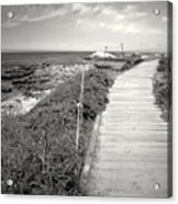 Another Asilomar Beach Boardwalk Black And White Acrylic Print