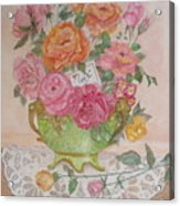 Antique Bowl With Roses Acrylic Print