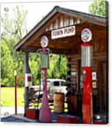 Antique Car And Filling Station 2 Acrylic Print