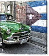 Antique Car And Mural Acrylic Print