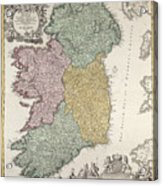 Antique Map Of Ireland Showing The Provinces Acrylic Print by Johann Baptist Homann