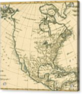 Antique Map Of North America Acrylic Print