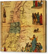 Antique Map Of Palestine 1856 On Worn Parchment Acrylic Print