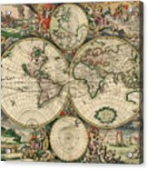 Antique Map Of The World - 1689 Acrylic Print