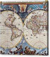 Antique Maps Of The World Joan Blaeu C 1662 Acrylic Print