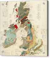 Antique Maps - Old Cartographic Maps - Antique Geological Map Of The British Islands Acrylic Print
