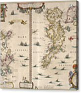 Antique Maps - Old Cartographic Maps - Antique Map Of Schetland And Orkney Islands - Scotland,1654 Acrylic Print