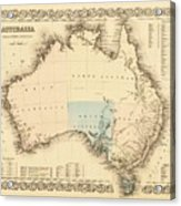 Antique Maps - Old Cartographic Maps - Antique Map Of Australia Acrylic Print