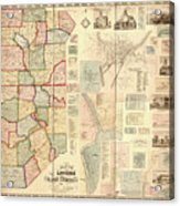 Antique Maps - Old Cartographic Maps - Antique Map Of Lawrence And Beaver Counties, 1860 Acrylic Print