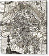 Antique Maps - Old Cartographic Maps - Antique Map Of Paris, France, 1643 Acrylic Print