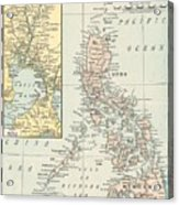 Antique Maps - Old Cartographic Maps - Antique Map Of Philippine Islands And Manila Bay, 1898 Acrylic Print