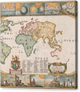 Antique Maps - Old Cartographic Maps - Antique Map Of The World Acrylic Print