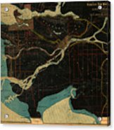 Antique Maps - Old Cartographic Maps - Antique Map Of Vancouver, New Westminster, Steveston Acrylic Print