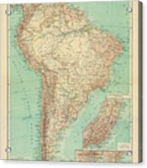 Antique Maps - Old Cartographic Maps - Antique Russian Map Of South America Acrylic Print